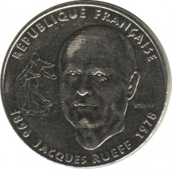 Moneda > 1franc, 1996 - França  (100è aniversari - Naixement de Jacques Rueff) - obverse