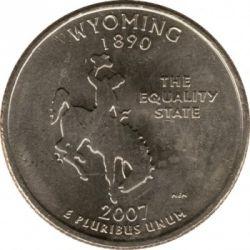 سکه > ¼دلار, 2007 - ایالات متحده آمریکا  (Wyoming State Quarter) - reverse