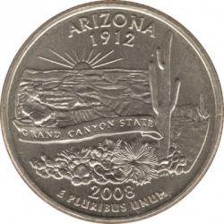 Кованица > ¼долара, 2008 - Сједињене Америчке Државе  (Arizona State Quarter) - reverse