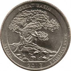 Moneda > ¼dólar, 2013 - Estados Unidos  (Cuarto del Parque Nacional de Great Basin) - reverse
