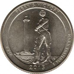 Moneda > ¼dólar, 2013 - Estados Unidos  (Cuarto de dólar de La Victoria de Perry y del Memorial Internacional de la Paz) - reverse