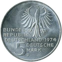 Moneda > 5marcos, 1974 - Alemania  (250º Aniversario - Nacimiento de Immanuel Kant) - obverse