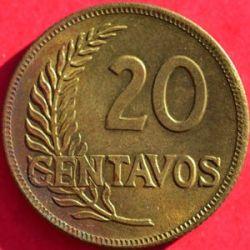 Кованица > 20центи, 1942-1951 - Перу  - reverse