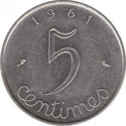 Coin > 5 centimes, 1961 - France  - reverse