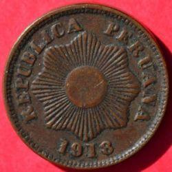 Кованица > 1цент, 1909-1939 - Перу  - obverse