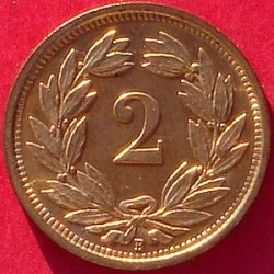 Moeda > 2rappen, 1850-1941 - Suíça  - reverse