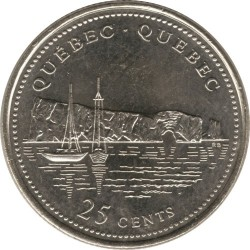 Coin > 25cents, 1992 - Canada  (Quebec) - reverse