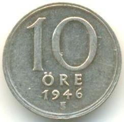 "Munt > 10ore, 1946 - Zweden  (Silver, ""SVERIGE"" on the obverse) - reverse"