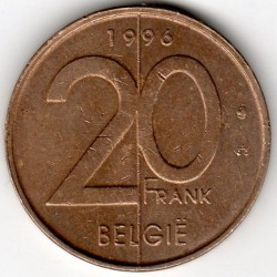Munt > 20 francs, 1994-2001 - Belgie  (Legend in Dutch - 'BELGIE') - obverse