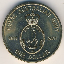 Moneda > 1dólar, 2001 - Australia  (90 aniversario de la Real Armada Australiana) - obverse