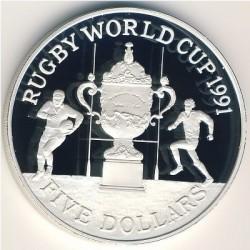 Moneda > 5dólares, 1991 - Nueva Zelanda  (Copa del Mundo de Rugby) - reverse