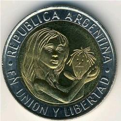 Moneta > 1peso, 1996 - Argentina  (50° anniversario - UNICEF) - obverse