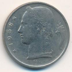 Moneta > 5franków, 1958 - Belgia  (Legenda po holendersku - 'BELGIE') - obverse