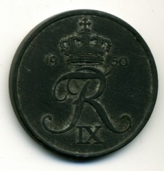 Coin > 5ore, 1950 - Denmark  - obverse