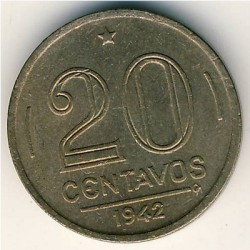 Coin > 20centavos, 1942-1943 - Brazil  - obverse