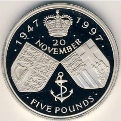 Moneta > 5sterline, 1997 - Regno Unito  (Anniversario delle nozze d'oro della regina) - reverse