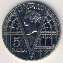 Moneta > 5funtów, 2001 - Wielka Brytania  (100 rocznica śmierci - Królowa Victoria ) - obverse