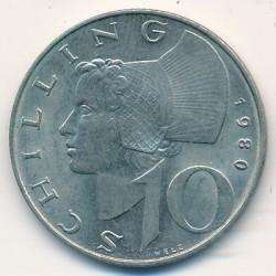 Coin > 10schilling, 1980 - Austria  - reverse