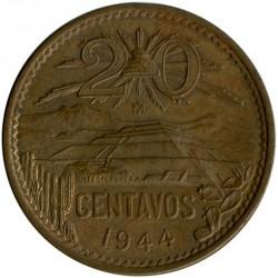 Moeda > 20centavos, 1943-1955 - México  - reverse