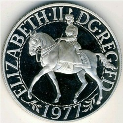 Moneda > 25peniques, 1977 - Reino Unido  (25 aniversario de la coronación de la Reina Isabel II) - obverse
