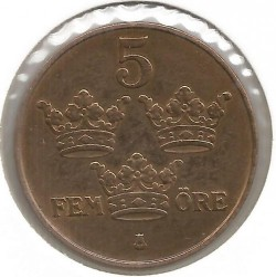 Mynt > 5ore, 1909 - Sverige  - obverse