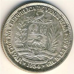 Coin > 1bolívar, 1954 - Venezuela  - obverse