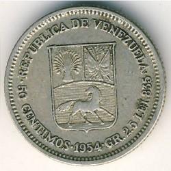 Münze > 50Centimos, 1954 - Venezuela  - obverse