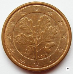 Coin > 1 euro cent, 2005 - Germany  - reverse