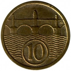 Moneda > 10 hellers, 1922-1938 - Checoslovaquia  - obverse