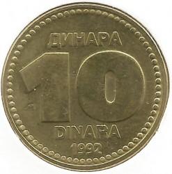 Mynt > 10dinarer, 1992 - Jugoslavia  - reverse