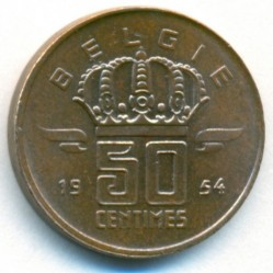 Монета > 50сантима, 1952-1954 - Белгия  (Legend in Dutch - 'BELGIE') - reverse