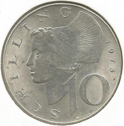 Moneta > 10szylingów, 1973 - Austria  - obverse
