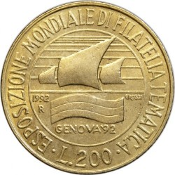 Moneda > 200liras, 1992 - Italia  (Exposición deExposició de segells sellos de Gènova) - obverse