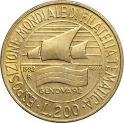 Moneda > 200liras, 1992 - Italia  (Exposición deExposició de segells sellos de Gènova) - reverse