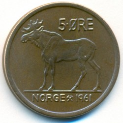 Mynt > 5 ore, 1958-1973 - Norge  - reverse