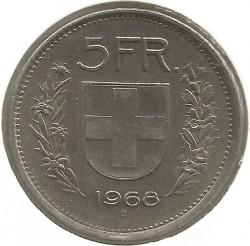 Coin > 5 francs, 1968 - Switzerland  - reverse