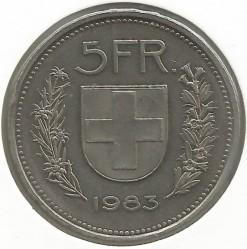 Moneta > 5franków, 1983 - Szwajcaria  - reverse
