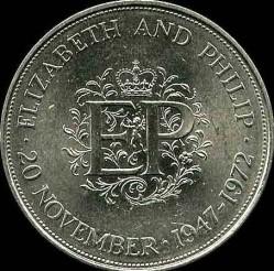Moneda > 25peniques, 1972 - Reino Unido  (Aniversario de Plata de la Boda Real) - reverse