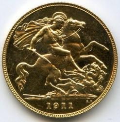 Moeda > ½libra(meiosovereign), 1911-1915 - Reino Unido  - reverse