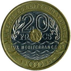 Moneta > 20franków, 1993 - Francja  (Igrzyska Śródziemnomorskie) - obverse