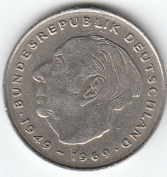 Coin > 2 mark, 1979 - Germany  (Theodor Heuss. 20th Anniversary - Federal Republic (1949 - 1969)) - reverse