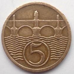 Monēta > 5helleri, 1923-1938 - Čehoslovākija  - reverse