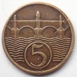 Кованица > 5хелера, 1931 - Чехословачка  - reverse