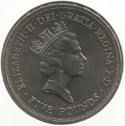 Moneta > 5funtów, 1990 - Wielka Brytania  (90 rocznica urodzin - Królowa Matka) - obverse