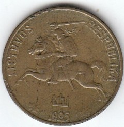 سکه > 50سنتا, 1925 - لیتوانی  - reverse