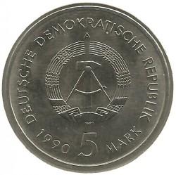 Moneda > 5marcos, 1990 - Alemania - RDA  (500º Aniversario - Servicio Postal) - obverse