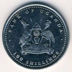 Moneda > 100chelines, 2004 - Uganda  (Chinese Zodiac - Rooster) - obverse