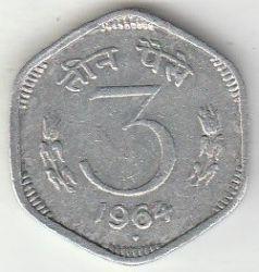 Монета > 3пайса, 1964-1967 - Индия  - obverse