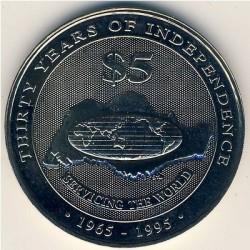 Moneta > 5dollari, 1995 - Singapore  (30° anniversario - Indipendenza) - reverse