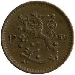 Münze > 1Mark, 1950 - Finnland  (Copper /brown color/) - obverse